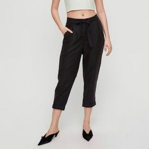 Wilfred Allant Black Cropped Linen Pants
